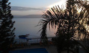 The Golan Heights across the Sea of Galilee, 6am on our first morning from our room
