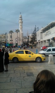 Manger Square, with my back to Church of Nativity. NT era Bethlehem fitted between the two tall towers in the distance.